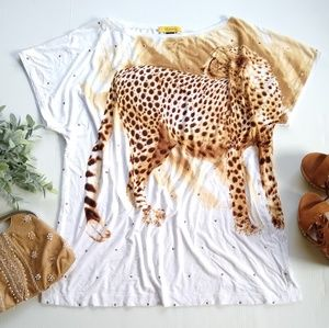 St. John • gold sequined cheetah stretchy top
